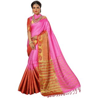 Ujjwal Creation Pink Silk Self Design Saree With Blouse