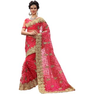 Ujjwal Creation Pink Net Self Design Saree With Blouse