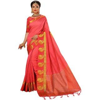 Ujjwal Creation Orange Silk Self Design Saree With Blouse