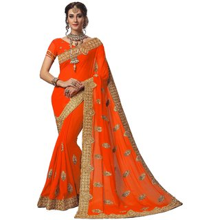 Ujjwal Creation Orange Georgette Self Design Saree With Blouse