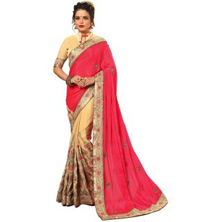 Ujjwal Creation Pink Satin Self Design Saree With Blouse