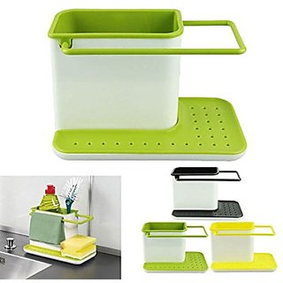 3 IN 1 STAND FOR KITCHEN SINK FOR DISHWASHER LIQUID, BRUSH, SPONGE, SOAP BAR AND MORE