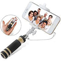 Wired mini mono-pod foldable selfie stick with with cable