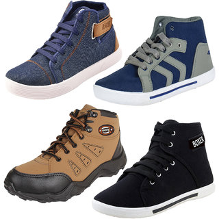 Armado Multicolor Lace-up Canvas PVC Sneakers/Casual Shoes For Men - Combo Of 4