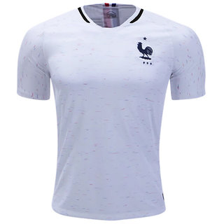 0219ee09 France National Football Team White Color Dry Fit Half Sleeve Jersey