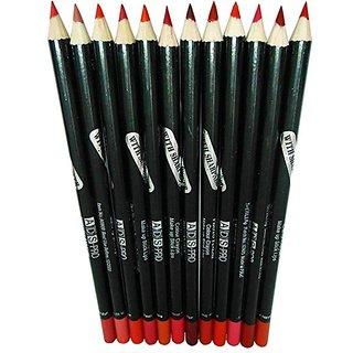 Ads Pro Photo Fines Makeup Stick Lip Liner Pencil(Set of-12Pcs) Multicolour