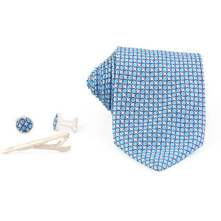 Tie Pocket Square  Cufflinks Tipin Set tie Sky Blue Dots