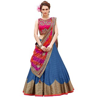 New Designer blue and pink Color Bhagalpuri material embroidery semi-sttiched lehengha choli (ROZA BLUE)