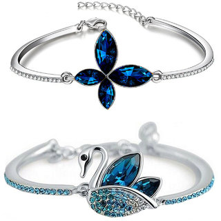 Om Jewells Combo of 2 Designer Crystal Bangle Bracelet Embellished with Blue and White Crystal Elements CO1000053