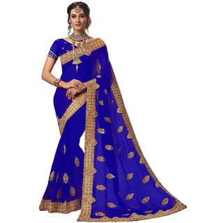 Ujjwal Creation Blue Georgette Self Design Saree With Blouse