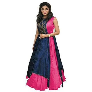New Designer Pink and Blue Color Benglori silk Embroidered semi stitched Anarkali Koti Dress (PNMPINK)