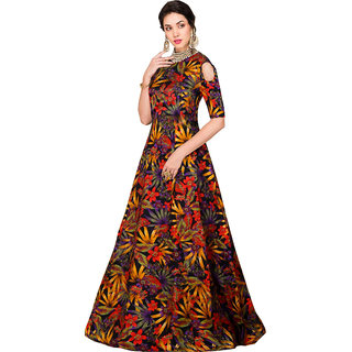 Active Womens Banglory Satin Silk Semi-Stitched Zorba Black Flower Free Size Gown