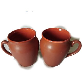 Brown Color Hot  Cold Ceramic Beverage Cup  Saucer for Coffee  Tea Cups For Dcor Table or Dining Set of 6