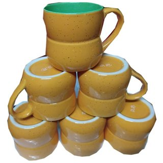 Ceramic Yellow and Green Color Tea Cups, Coffee Mugs For Dcor Table or Dining Set of 6
