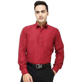 Frankline Maroon Cotton Blend Formal Shirts