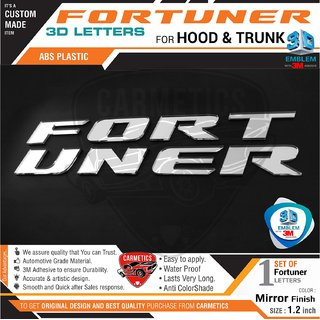 Fortuner 3d Letters for Toyota Fortuner - Mirror Finish - CarMetics