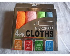 Microfiber Micro Fibre Cleaning Cloth (Set Of 4),Multicolor