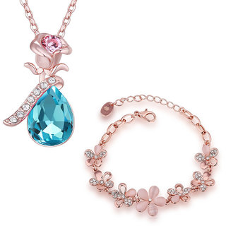 Om Jewells Rose Gold Plated Floral inspired Bracelet and Pendant Combo with Crystal Stones CO1000055