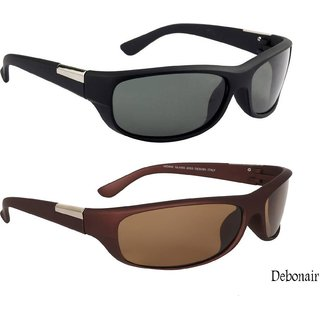 Combo Of Wrap Around Men's Sunglasses -(Black  Brown)