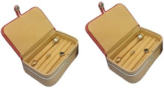 ADWITIYA Set of 2 - Rust Faux Leather Ring Folder Storage Jewelry Organizer Travel Friendly Paperboard Gift Box