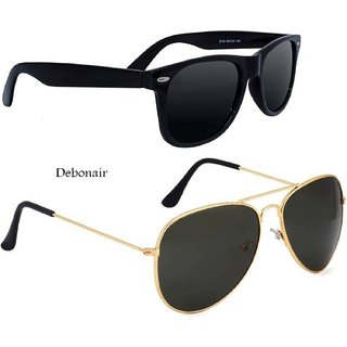 0cab9e9fe68 Buy Debonair Combo UV Protected Aviator Wayfarer Sunglasses For Unisex  (Combo - Black) Online - Get 85% Off