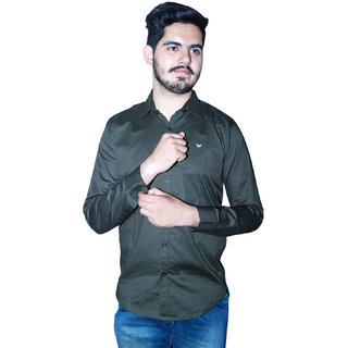 Americanchoice Men's Solid Casual Full Sleeves Darkish Grey  Cotton Shirt