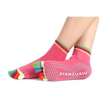 BANQLYN New Women Sports Colorful Yoga Socks Hot Fitness And Pilates Cotton Socks New Colorful Workout Anti Slip Toe Yoga Sport Socks (Random Colour )