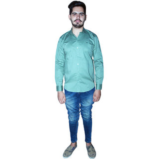 Americanchoice Men's Solid Casual Full Sleeves Teal Cotton Shirt
