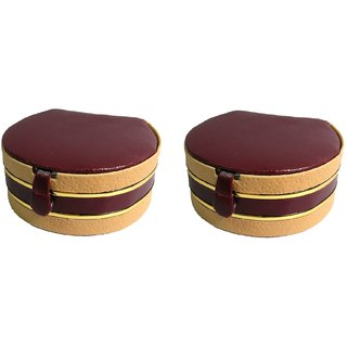 ADWITIYA Set of 2 -  Maroon Mini Bangle Case Faux Leather Jewelry Storage Organizer Travel Friendly Paperboard Gift Box