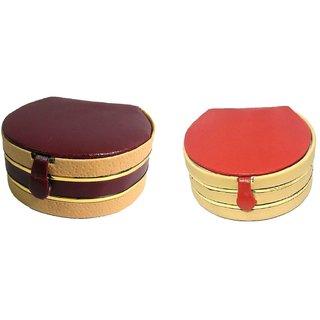 ADWITIYA Set of 2 -  Maroon Rust Bangle Case Faux Leather Jewelry Storage Organizer Travel Friendly Paperboard Gift Box