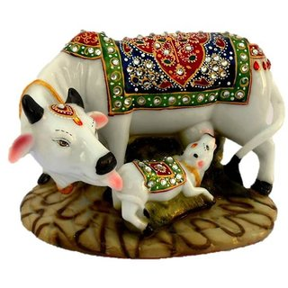 COW AND CALF STATUE Decorative Marble dust / Polyresin Cow and Calf Big Statue/Idol  BIG SIZE