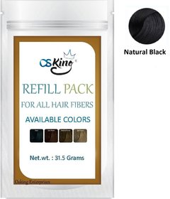 Osking Hair Building Fibers Refill Pack 31.5Grams (Hair Loss Concealer) For All Fibres Like Caboki (Natural Black)