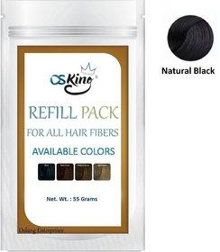 Osking Hair Building Fibers Refill Pack 55Grams (Hair Loss Concealer) For All Fibres Like Caboki (Natural Black)