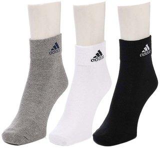 Adidas Cotton Black, White  & Grey Formal Cotton Ankle Socks