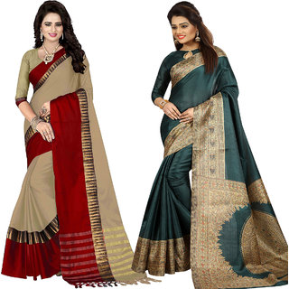 Ethinista Fashion Mart Peach and Green Colored Designer Party Wear Saree With Matching Blouse ( Pack Of 2)