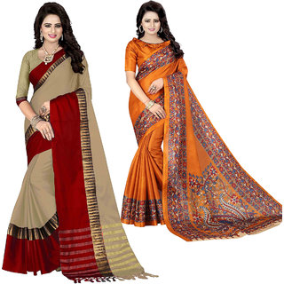 Ethinista Fashion Mart Peach and Mustard Colored Designer Party Wear Saree With Matching Blouse ( Pack Of 2)