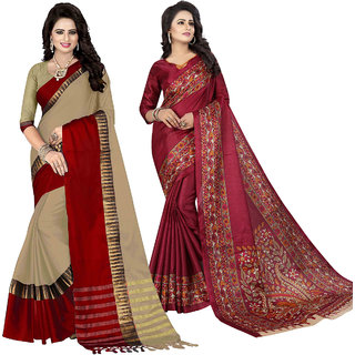 Ethinista Fashion Mart Peach and Wine Colored Designer Party Wear Saree With Matching Blouse ( Pack Of 2)
