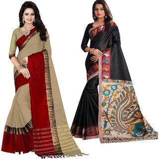 Ethinista Fashion Mart Peach and Black Colored Designer Party Wear Saree With Matching Blouse ( Pack Of 2)