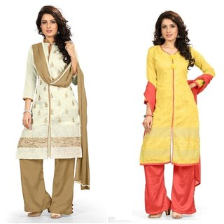 BanoRani Womens MultiColor Chanderi EmbroideryCombo of 2  Free Size UnStitched Dress Material(BR-1383_1388)