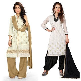 BanoRani Womens MultiColor Chanderi EmbroideryCombo of 2  Free Size UnStitched Dress Material(BR-1383_1661)