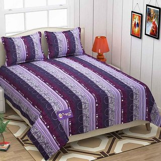 The Intellect Bazaar 152 TC 100 % Pure Cotton Double Bedsheet Purple