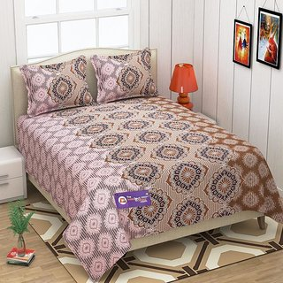 The Intellect Bazaar 152 TC 100 % Pure Cotton Double Bedsheet Brown