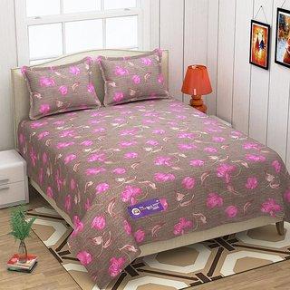The Intellect Bazaar 152 TC 100 % Pure Cotton Double Bedsheet Pink