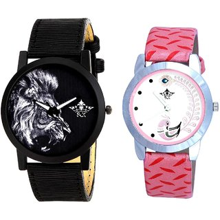 Lion And Pink Peacock Couple Analogue Watch By VB INTERNATIONAL