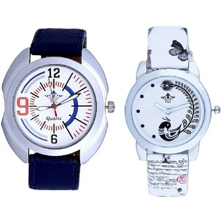 Exclusive Blue Sport Leather Strap And White Peacock Couple Analogue Watch By VB INTERNATIONAL