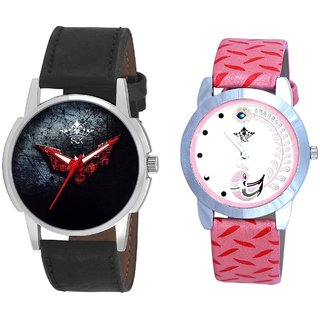 Red Flying Bat And Pink Peacock Couple Analogue Watch By VB INTERNATIONAL