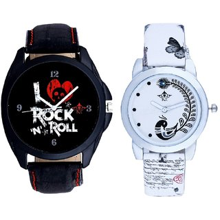 Luxury Rock N Roll Art And White Peacock Couple Analogue Watch By VB INTERNATIONAL