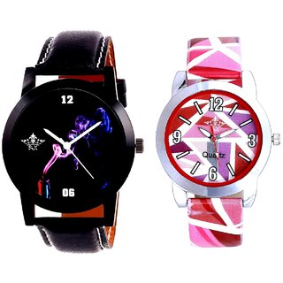 Colouring Smoke Black Dial And Multi Pink Art Couple Analogue Watch By VB INTERNATIONAL