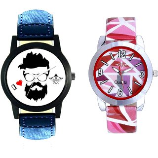 Rock Men With Pink Sep Couple Analogue Wrist Watch By VB INTERNATIONAL