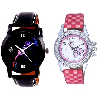 Colouring Smoke Black Dial And Pink Flowers Couple Analogue Watch By VB INTERNATIONAL